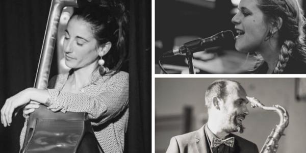 Flore Galais, à la contrebasse, Alexandre Lantieri au saxophone et Andréa Caparros au chant